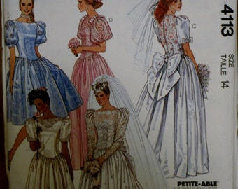 McCall's 4113 Vintage Wedding Dress and Bridesmaids Dress Sewing Pattern UNCUT Size 14