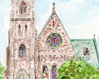 St. Paul's Episcopal Church, Wallingford, Connecticut, WaterColor, 5x7, 8x10, 11x14, Archival Print, Print,  Watercolour, Art