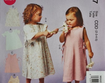 Little Girls Dress and Pinafore Sz 2 to 5 McCall's 6687 uncut sewing pattern