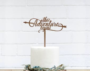 Customized Wedding Cake Topper, Personalized Cake Topper for Wedding, Custom Personalized Wedding Cake Topper,Adventure Begins Cake Topper6