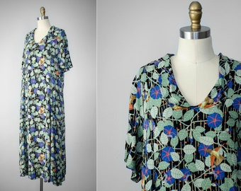 vintage FLAX dress | oversized maxi dress | floral maxi dress | floral rayon dress | morning glory print | hummingbird print