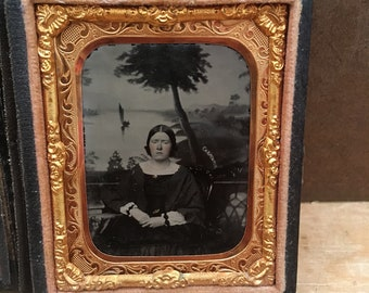 Maybe She Didnt Like The Lake Antique Ambrotype Souvenir Tinted Photo