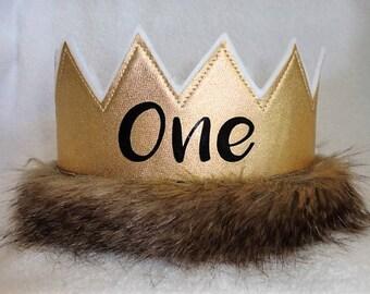 1st Birthday Crown, Wild One Birhtday Crown, Gold ONE Birthday Crown, Wild One Birthday Hat, ONE Birthday Party Hat, Kids Crowns, King Crown