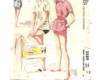 1950s Beach Wear ~ Short Shorts ~ Pullover Top ~ Vintage Sewing Pattern ~ Size 14 Bust 32 ~ Shorts ~ Cover-Up Shirt ~ McCall's 3589 UNCUT