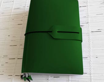 Vegan journal with bookmarks A5 B6 all size travelers notebook cover Fauxdori/Midori style for journaling and planning Green & custom colors