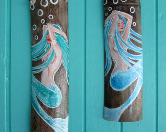 Pair of Mermaids ORIGINAL HAND PAINTED on Drift Wood- Mermaid Wall decor- Fantasy Mermaids
