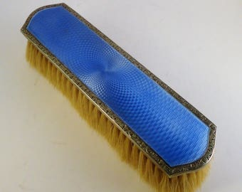 1923s English Solid Sterling Silver & Blue Enamel Guilloche Clothes Brush