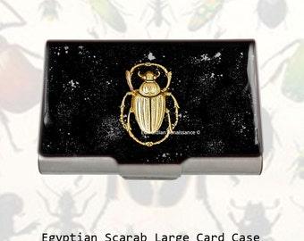 Neo VIctorian Business Card Case Antique Gold Scarab Embellished on Black Enamel with Silver Splash Design Egyptian Beetle Choose your Color