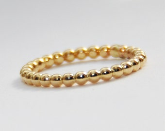 2mm BOLD Stackable Yellow Gold Filled Beaded Ring, Handmade Gold Fill Dotted Stack Ring, Stacker Ring, Thumb Finger Ring, Eternity Band