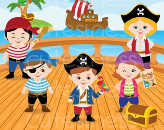 Pirate Clipart, Pirate Graphic, COMMERCIAL USE, Pirate Party, Pirate Boy, Pirate Girl, Kid Cliparts, Educational, Teacher Graphics