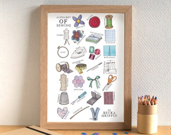 Sewing Alphabet Print - gift for sewer - gift for crafter - Alphabet of Sewing - sewing art - sewing print - art for sewing room - mum gift