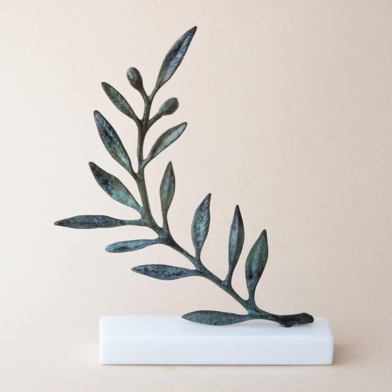 Olive branch bronze sculpture metal art greek museum quality zoom buycottarizona Choice Image