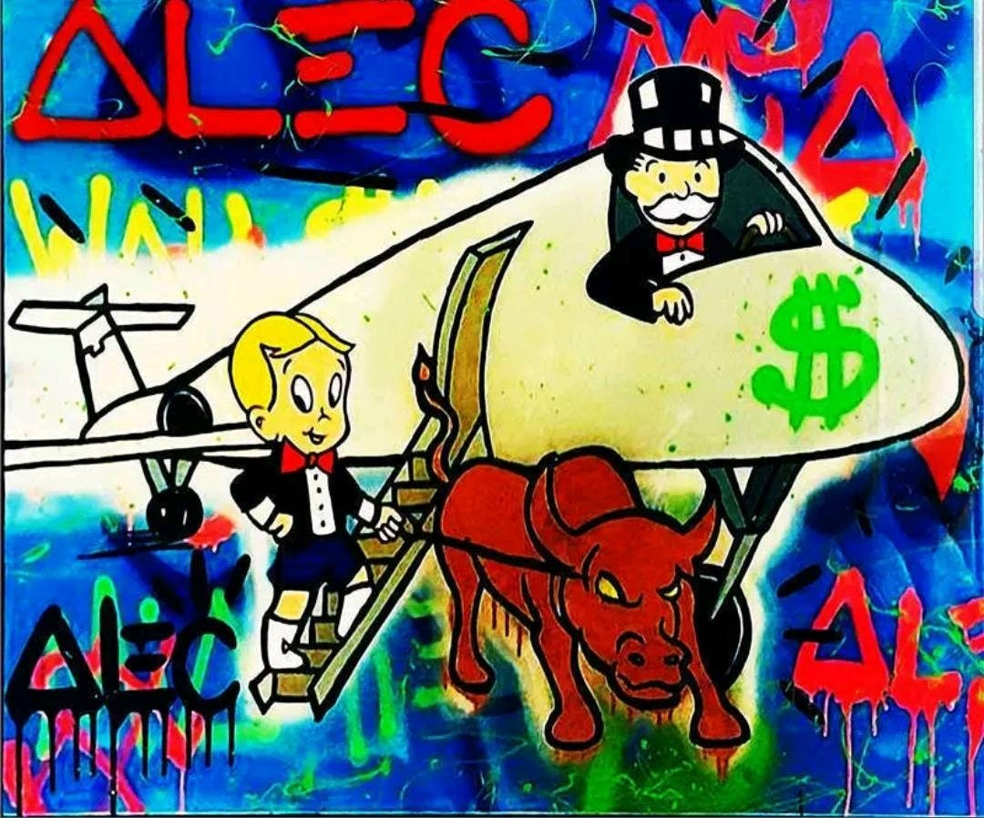 Alec Monopoly Oil Painting on Canvas Graffiti art The Airplane