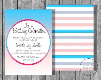 Girls birthday party invitation / Rainbow teen birthday invite / Customized digital printable file / Teen birthday party invite
