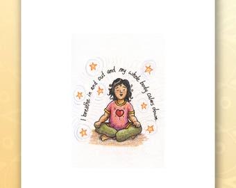 Just Breathe Art, 8 x 10 print, breathe print, yoga artwork, yoga art, kids yoga, zen kids, spirituality, kids illustration, calm print