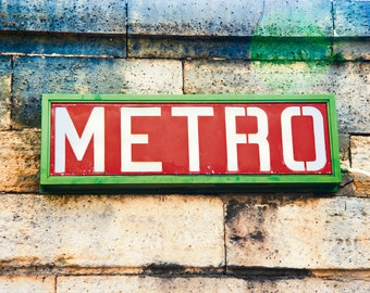 Paris photograph - Metro Sign - French photo - Fine art travel photography - urban hip signage - red, kelly green, ivory, blue - unisex gift