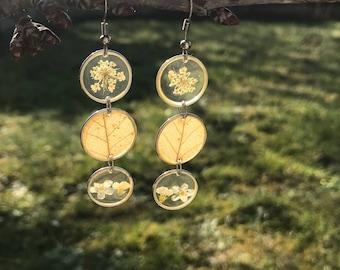 Triple leaves and flowers earrings