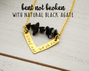 Bent Not Broken - Handstamped Chevron Necklace with Natural Black Agate