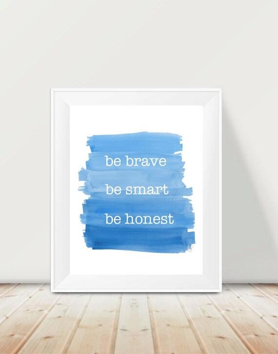 Boys Inspirational Quote Print, 11x14 Bravery, Honesty, Smart