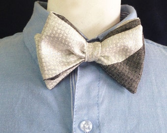 Elegant silver gray and white bowtie  -  double sided available[Valentine's Day]