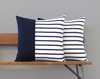 INDOOR/OUTDOOR Pillow Cover - Navy and White Striped Colorblock (12x20 or 20x20) by JillianReneDecor, Modern Summer Home Decor, Two Tone