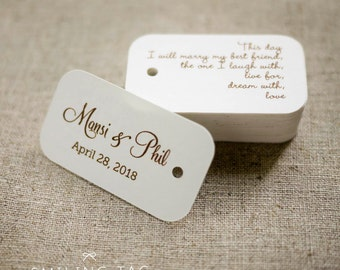 On This Day Personalized Gift Tags - Custom Wedding Favor Tags - Thank you tag - Hang tags - Wedding Gift Tags - Set of 30 (Item code: J282)