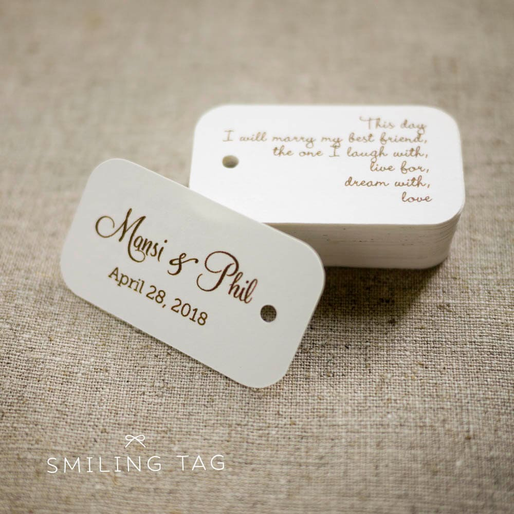 On This Day Personalized Gift Tags Custom Wedding Favor