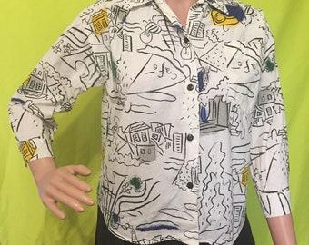 1980s Esprit Kids Crayon Drawing Shirt