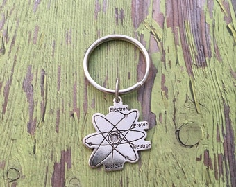 Atom Keychain - Silver Tone - Science Accessories - Chemistry - Teacher Gift