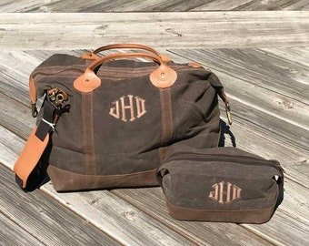 Monogrammed Weekender Bag, Personalized Overnight Bag, Weekend Travel Bag, Monogrammed Mens Bag,Mens Personalized Travel Set,Mens Travel Set