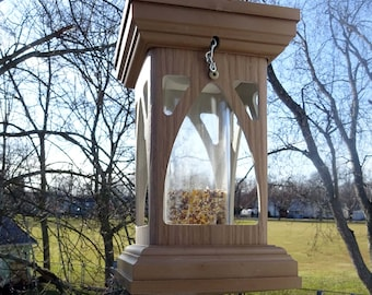 Modern PVC Tube feeder, gothic style, hanging bird feeder, EZ fill and clean, polyvinyl  handmade in USA, Woodgrain, fully assembled