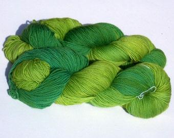 Field Greens on Max 80/20 SW Merino Nylon Hand dyed fingering weight sock yarn