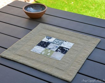 Wordsmith by Janet Clare green table topper. Quilted table runner, table mat, nature modern home decor neutral earthy fabric table runner UK