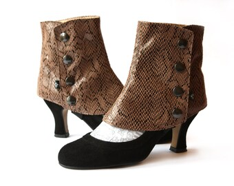 Short Spats Chestnut Snakeskin fabric Women's Spats for High Heels Shoes