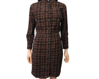 Vintage 80s/90s Black And Brown Plaid Corduroy Button Front Dress Size S