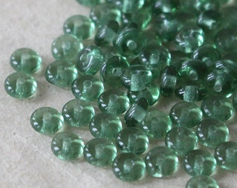 4mm Rondelle Bead - Jewelry Making Supply - Smooth Glass Rondelle Spacer Disk - Dk. Coke Bottle Green (100 beads) Prairie Green