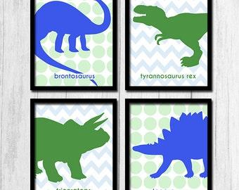 Two Tone Kids Room Prints Childrens Wall Art Digital Download Print Dinosaur Prints Kids Room Art Instant Download Green Prints Blue Prints