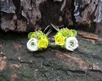 Cool earrings for daughter Flower dangle earring Yellow flower earrings Floral earring wedding Miniature flower jewelry Ranunculus succulent