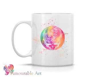 Coffee Mug, Ceramic Mug, Grateful Dead Mug, Unique Coffee Mug, 11oz or 15oz, Watercolor Art Print Mug, Two-Sided Print, Coffee Lover Gift