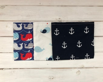 Reusable Snack Bag Set- Set of 3- Whales and Anchors
