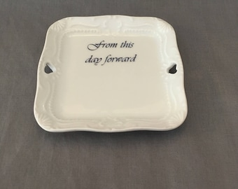 "Special Occasion Ring Dish ""from this day forward"" Versatile Vintage Square Miniature Tray"