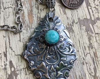 Silver metal clay pendant