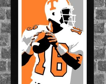 Tennessee Volunteers Peyton Manning Portrait Sports Print Art 11x17