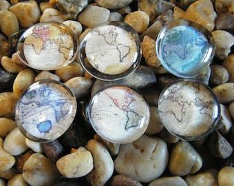 World Maps / Glass  Magnets / Glass Cabochon Magnet Set
