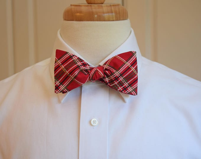 Men's Bow Tie, red plaid Christmas bow tie, red/gold holiday bow tie, New Years Eve bow tie, festive red/gold plaid bow tie, men's Xmas gift