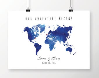 Navy blue map etsy printable navy blue watercolor world map guest book editable pdf template diy personalized large gumiabroncs Gallery