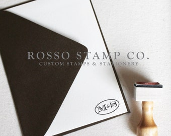 Monogram Stamp, Wedding Monogram Stamp, Custom Stamp - Style No. 15