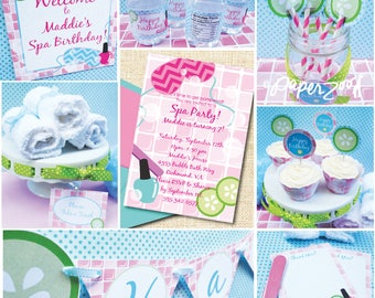 INSTANT DOWNLOAD, Spa Girl Birthday, Pink, Turq, Printable Party Package, You Edit in Adobe Reader