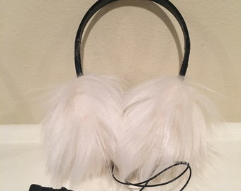 Faux Fur Earmuff Headphones; Cozy and Fuzzy; Audio jack built-in