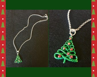 Christmas tree pendant and silver colored chain necklace